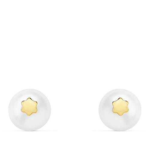 Pendientes comunión oro amarillo18 Ktes. Perlas con detalle de flor