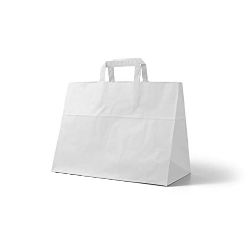 Papiertragetaschen in weiß groß 32 x 21 x 33 cm I Papiertüten Geschenktüten I weiße Papier Tüten (50)