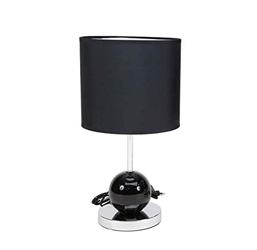 Lámpara de diseño moderno en color plateado o negro y pantalla de tela color negro | Casquillo E27 (Bombilla no incluida) Perfecta para el salón, dormitorio o recibidor. (Negro)