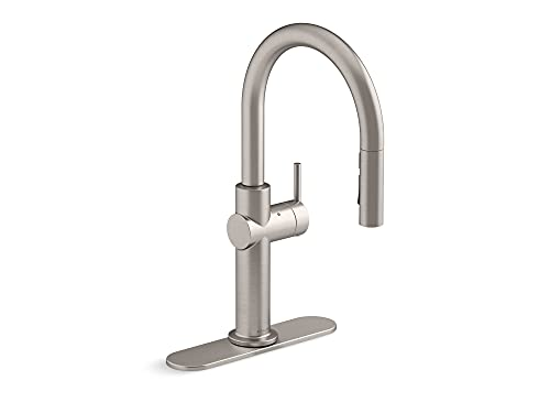 KOHLER Crue Touchless Pull Down Kitchen Faucet, 3-Spray Sprayhead with Touchless Activation, Vibrant Stainless, K-22974-VS