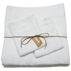Linoto 100% Pure Belgian / Italian Flax Linen Bed Sheet Set - Handmade - Natural 4 Piece Luxury Bedding - Machine Washable, Low-Wrinkle Fabric - Queen, White