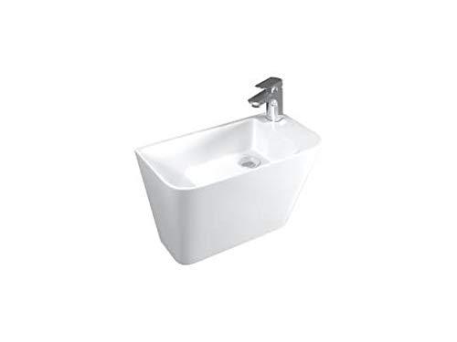 Lucco Primo Waschbecken Wandmontage | Hängewaschbecken |Moderne Design Waschbecken aus Keramik | Wandwaschbecken 28 cm | Waschtisch Gäste WC | Weiß