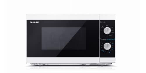 SHARP YC-MG01E-W - Horno de microondas de 20 litros, 1000 W, con temporizador de 5 niveles de cocción, color blanco
