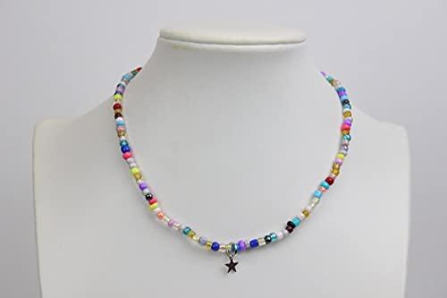 Collana girocollo con perline colorate con stellina