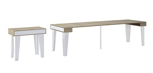 Skraut Home - Table Console Extensible avec rallonges, modèle Nordic kl jusqu'à 300cm, Salle à Manger, Blanc Mat et chêne brossé. Jusqu´à 14 pers.