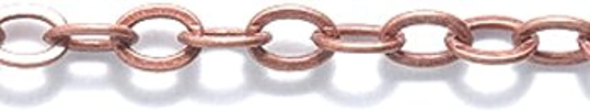Shipwreck Beads Electroplated Brass Cable Chain, 4mm, Metallic, Antique Copper, 3-Feet, Unfinished