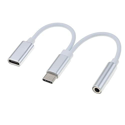 PremiumCord USB-C auf 3,5 mm Kopfhörer Adapter + USB-Typ C Buchse zum Aufladen, USB 3.1 Typ C Stecker auf Klinke Jack AUX Audio, für Huawei P20/P20 Pro/P30/P30 Pro, Xiaomi 6/8, Mix 2/3, OnePlus6T
