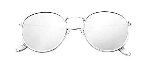 Lovelegis Gafas de sol redondas - mujer - hombre - retro - montura de metal - color plata - lente plateada - uv 400 polarizado - idea de regalo de cumpleaños