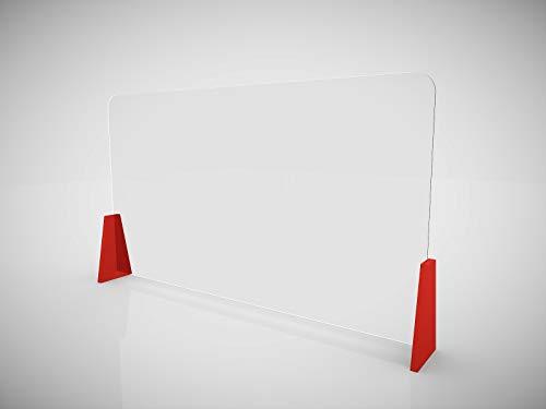 Schreibtisch-Trennwand, Schreibtisch-Abtrennung, Schutzplatte, Plexiglas-Trennwand für Schreibtische im Büro - 120 x 70cm.