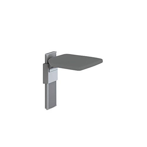 Pressalit R5520112112 Dusch-Klappsitz anthrazitgrau, hoch-klappbar, Duroplast Duschsitz für Senioren, behindertengerecht (Belastbarkeit 135 kg, höhen-verstellbar)
