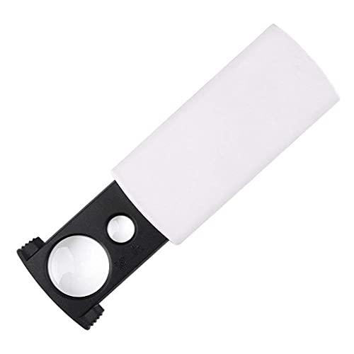 WUHUAROU Lupas sacar doble lente mini lupa luz UV portátil portátil para viejo libro lectura joyería identificación artesanía talla y reparación blanco