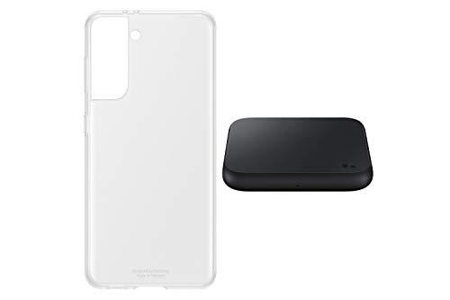 Samsung Galaxy S21 5G, Triple-Kamera, Infinity-O Display, 128 GB Speicher, leistungsstarker Akku, Phantom Violet S21 Clear Cover transparent inkl. Wireless Charger Pad P1300