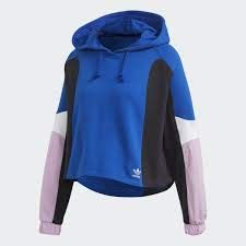adidas Crooped Hoodie Sudadera Mujer Azul