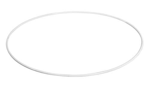 Rayher 2505400 Metallring, weiß beschichtet, 30 cm ø, Stärke ca. 3,5 mm, Drahtring zum Basteln, für Wickeltechnik, Traumfänger Ring, Makramee Ring, Floristik