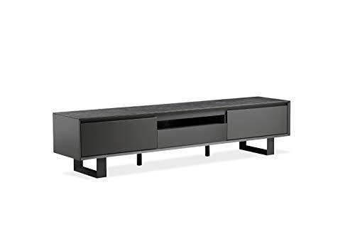 CERAMIK TV-Möbel, Holz, Keramik und Metallfüße, modernes Design, neue Kollektion, Grau / Anthrazit