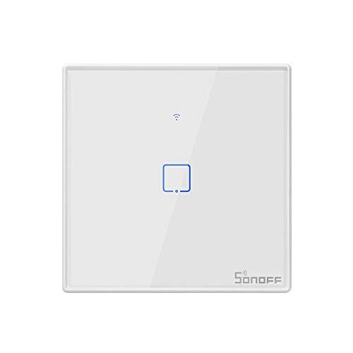 Fesjoy Interruptor inteligente WiFi de pared T2EU1C-TX, 433 MHz, mando a distancia, control táctil, temporizador de control táctil, panel de la UE, compatible con Home/Nest & Alexa