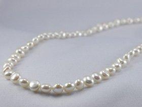 バロック真珠sv 淡水パールバロックネックレス80cm ホワイト y-n-486