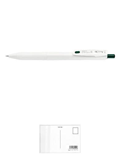 ゼブラ サラサ R 0.4 白/グリーンブラック ジェルボールペン JJS29-R1-VGB 【まとめ買い 3 本 】 + 画材屋ドットコム ポストカードA