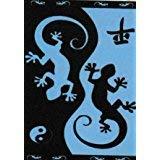 Regalitostv (447C) Toalla DE Playa Grand Confort 100% ALGODÓN Egipcio, Tacto Suave, Muy Absorbente Y Secado RÁPIDO + Pack Tobilleros (90_x_170_cm, Lagarto Azul Negro)