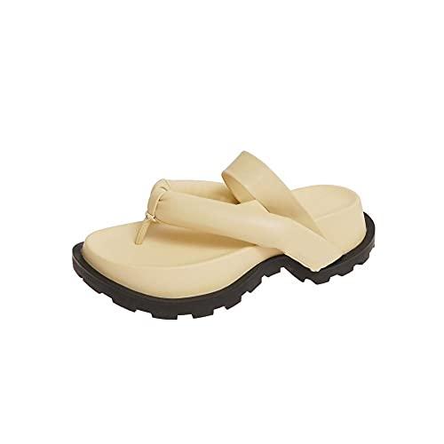 Chanclas Unisex Adultozapatillas De Mujer Zapatillas De Verano Confort Cuñas Zapatos De Plataforma Mujer Zapatillas Antideslizantes Casuales Señoras Sport Slides-Yellow_4
