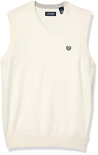 Chaps Men's Cotton V-Neck Sweater Vest, Essex Cream, M