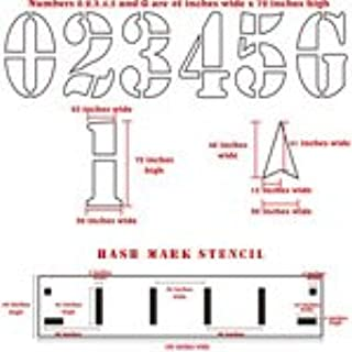 Football Field Stencil Kit | 72 inch Numbers with Hashmark | 60 mil Standard Grade | Paint Stencils for Football Fields