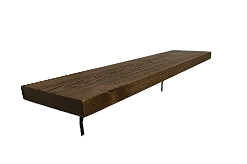 Rustic, Contemporary Shelf with Brackets, Solid Pine, Handmade, Made in United States, 2' Thick x 12' Deep x 48' Medium Brown