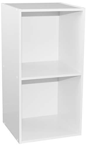 Alsakaz - Estantería Modular (2 Cubos, 34,9 x 33,7 x 68,8 cm), Color Blanco