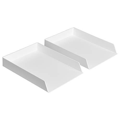 Amazon Basics Organizador de plástico, bandeja para cartas, blanco, paquete de 2
