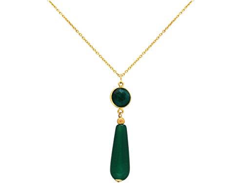 Gemshine Halskette mit grünem Smaragd und Jade Edelstein Tropfen. 925 Silber oder hochwertig vergoldet - Nachhaltiger, qualitätsvoller Schmuck Made in Germany, Metall Farbe:Silber vergoldet