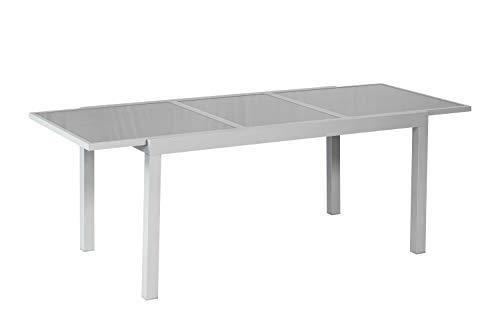 MERXX Ausziehtisch aus Aluminium und Glas, ca. 160/220x90x75 cm