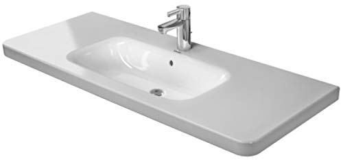 Duravit DuraStyle Möbelwaschtisch mit Überlauf, 1200 mm, 3 Hahnlöcher 1200 x 480 28,5 mm, weiß mit W