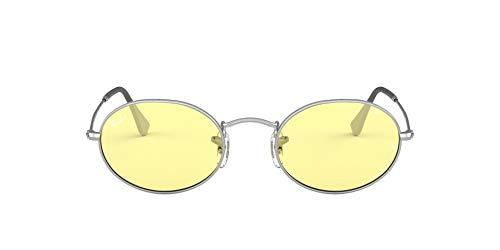 Ray-Ban Oval, Lentes oscuros Unisex Adulto, Plateado/Amarillo Claro Fotocromático, 51