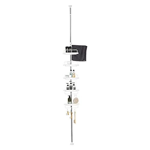 XXSHN Corner Shower Caddy Tension Pole 5-Shelf, Standing Constant Tension Pole for Dorm Rust-Proof Stainless Steel Adjustable Height Storage Organizer, Black,Black