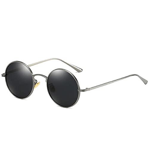 AMFG Gafas de sol polarizadas Punk Gafas de roca retro Gafas de sol Marco redondo Sombreado Viaje al aire libre Pesca (Color : A)