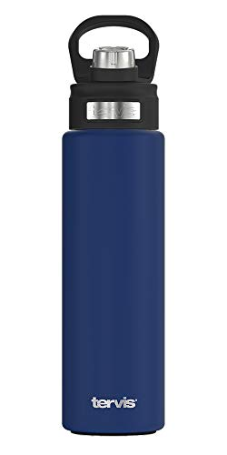 Tervis Powder Coated Stainless Steel Insulated Tumbler, 24oz Wide Mouth Bottle - Deluxe Spout Lid, Deepwater Blue