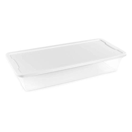 HOMZ Snaplock Clear Storage Bin with Lid, Large-41 Quart, White, 2 Pack