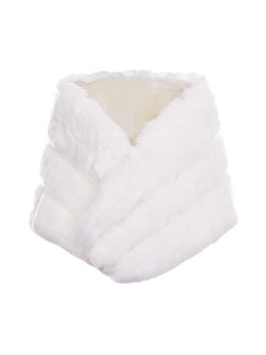 MsLure Damen Winter Weste Elegant Kurz V-Ausschnitt Ärmellose Pelzjacke Kunstpelz Herbst, Weiß, One Size(34-40)