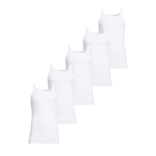 con-ta Unterhemd 5er Spar-Pack, Unterwäsche für Herren, Achselhemd in Feinripp, klassisch bequemes Oberteil, aus 100% Baumwolle, in Weiß, Größe: 12/6XL