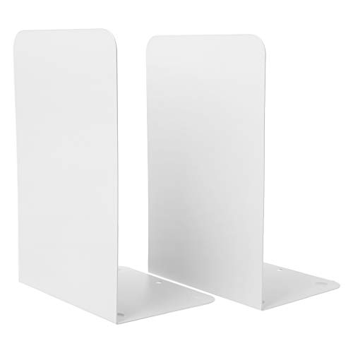 Lagand 1 Paar Metal Bookends Organizer Desktop Office Thuis Boek Plank Opslaghouder Boek Eindigt app.13.5x10.5x20.5cm/5.31x4.13x8.07in Kleur: wit