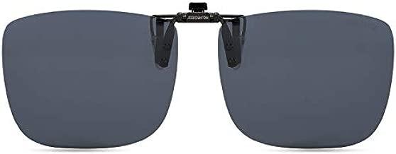 CAXMAN Polarized Clip On Sunglasses Over Prescription Glasses for Men Women 100% UV Protection Flip Up Grey Lens Extra Large Oversized