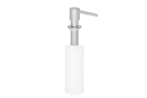 Built in Round Solid Brass Pump Deck Mount Modern Hand/Dish Soap Dispenser Polished Chrome – All Metal Construction - 13 OZ Capacity Bottle – Easy Refill from Top