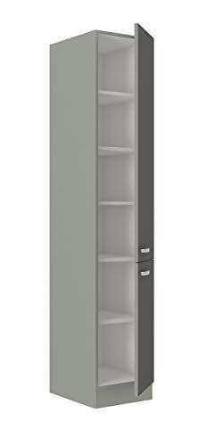 Küchen Hochschrank 40cm Hochglanz Grau Küchenzeile Küchenblock Küche Grey Bianca