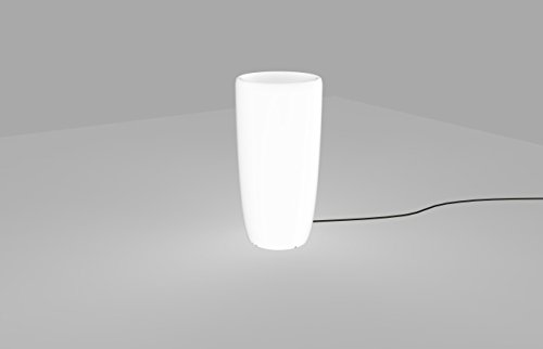 Pot de fleurs lumineux blanc - Hauteur : 70 cm - E27 - Interrupteur à câble - Lampe d'extérieur - Lampe décorative - Lampe de jardin