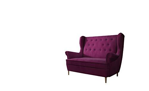MOEBLO Ohrensofa 2 Sitzer Sofa Garnitur Stoff Samt (Velour) Glamour Wohnlandschaft Chesterfield - Kros (Weinrot (MatVelvet 68))