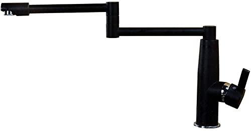 Alargar grifos de cocina plegables de color negro, grifo giratorio de cobre y calor, grifo creativo para agua (color de una sola manija negra)