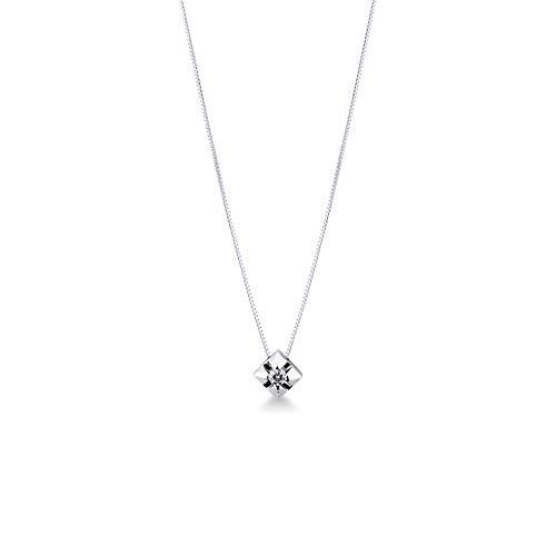 Gioielli di Valenza - Collana Punto Luce a Griffe in Oro Bianco 18k con Diamante - 4PROMO