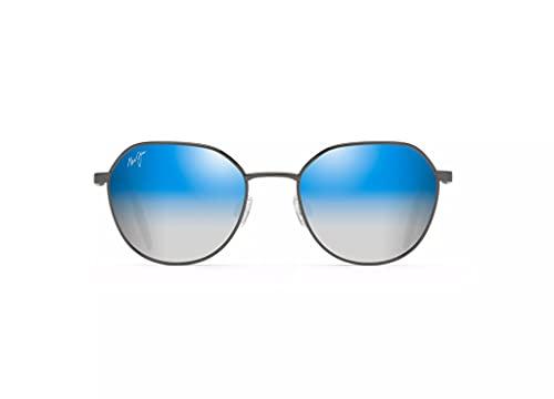 Maui Jim Unisex's Hukilau Sunglasses, Dark Gunmetal/Dual Mirror Blue to Silver Polarized,...