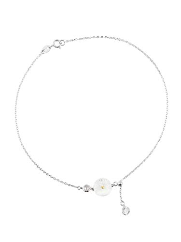 shangwang 925 Sterling Silver Shell Daisy Crystal Round Charm Bracelet Women Bracelets And Bangle Wedding Jewelry Party