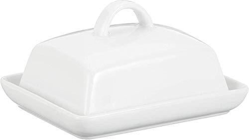 axentia Butterdose Porzellan, klassische Butterglocke für 250 g Butter, Butterbox für Haushalt und Küche, Butterschale mit Deckel und Griff, weiß